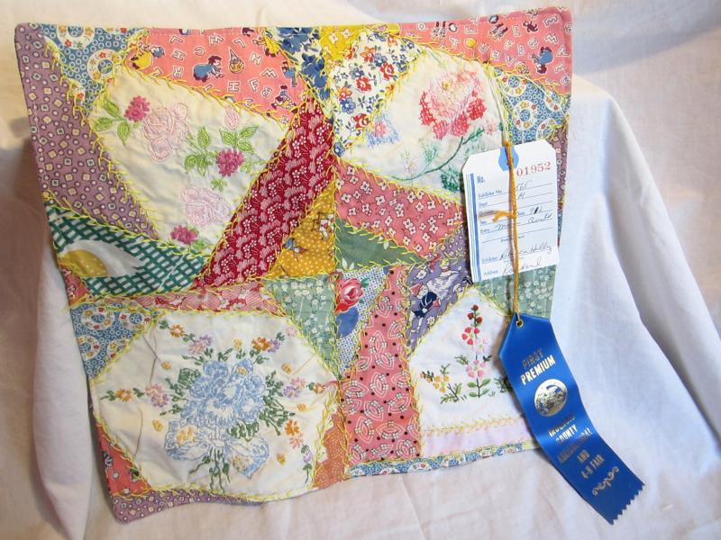 Little Crazy Quilt with Blue Ribbon