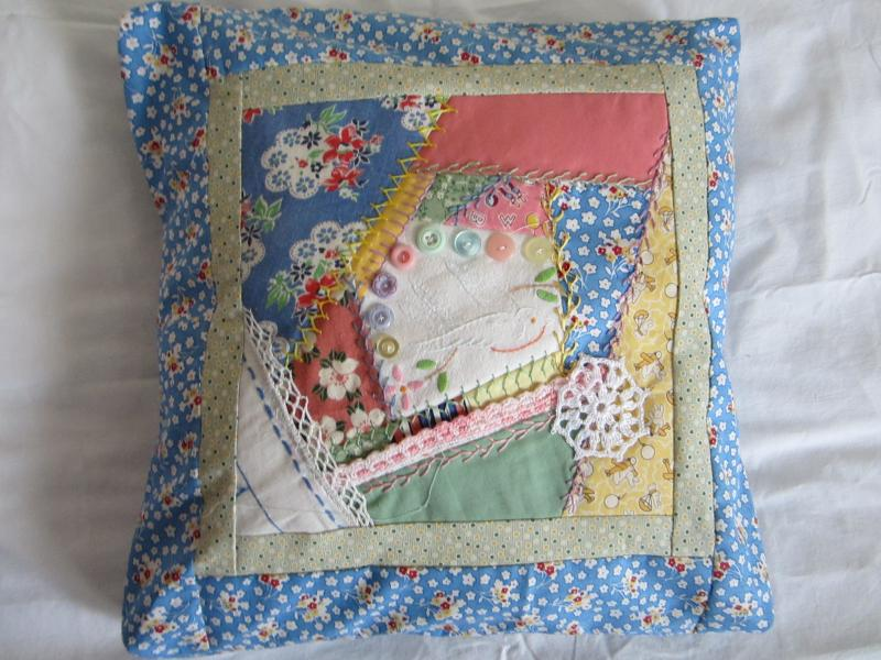 PIllow Cover with Vintage Embroidery, Fabrics, Lace and Buttons